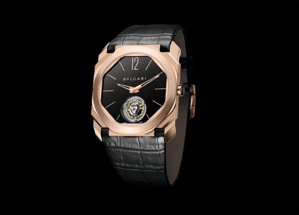 Octo Finissimo超薄陀飛輪腕錶,玫瑰金錶殼,錶徑40mm,透明底蓋,黑色拋光漆面錶盤,寶格麗BVL 268 Finissimo超薄陀飛輪手動上鍊機械機芯,搭載一分鐘飛行陀飛輪,機芯直徑32.60mm,厚度1.95mm為目前世界紀錄最薄陀飛輪,錶體總厚度僅5mm,約55小時動力儲存,黑色鱷魚皮錶帶,參考售價約新台幣3,988,000元 。