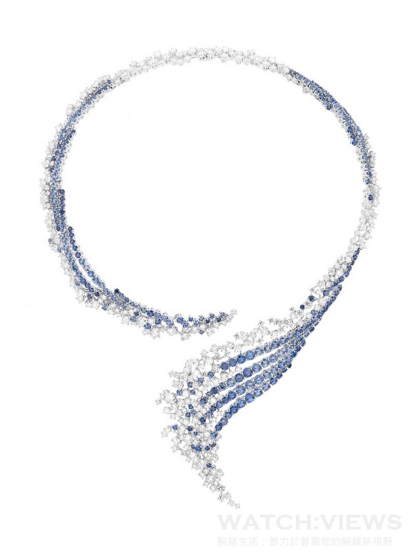 Rivage 海浪項鍊,308顆鑽石 共25,44克拉   ,225顆藍寶石 共26,15克拉,NTD 24,100,000。
