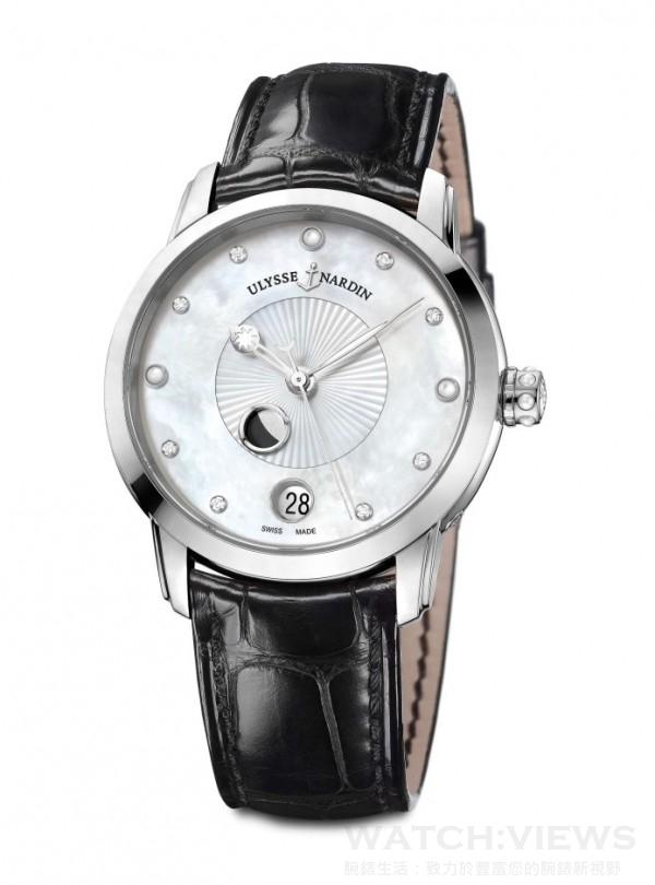《鎏金沁月腕錶》Classico Lady Luna,不鏽鋼錶殼,直徑35 毫米,備有不帶鑽石或錶圈鑲有76顆鑽石珍珠母貝面盤,時、分、秒、日期、月相顯示,UN-829自動上鍊機芯,動力儲存約42小時,防水50 米,鱷魚皮真皮錶帶。