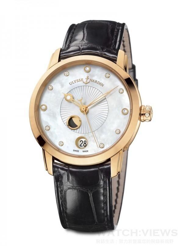 《鎏金沁月腕錶》Classico Lady Luna,18K 玫瑰金錶殼,直徑35 毫米,備有不帶鑽石或錶圈鑲有76顆鑽石珍珠母貝面盤,時、分、秒、日期、月相顯示,UN-829自動上鍊機芯,動力儲存約42小時,防水50 米,鱷魚皮真皮錶帶。