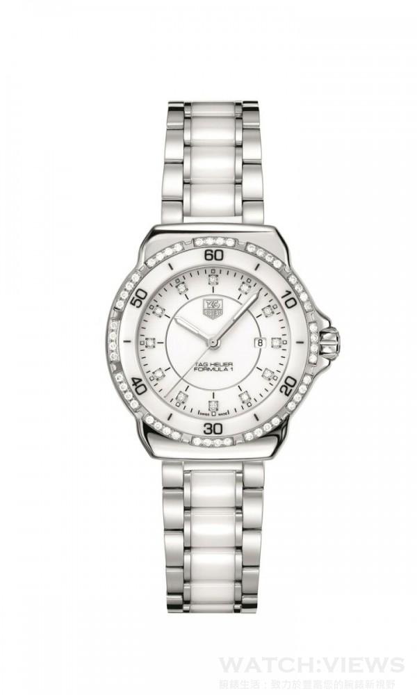 F1陶瓷腕錶,型號WAH1313.BA0868,錶徑32毫米,零售價NTD93,450。