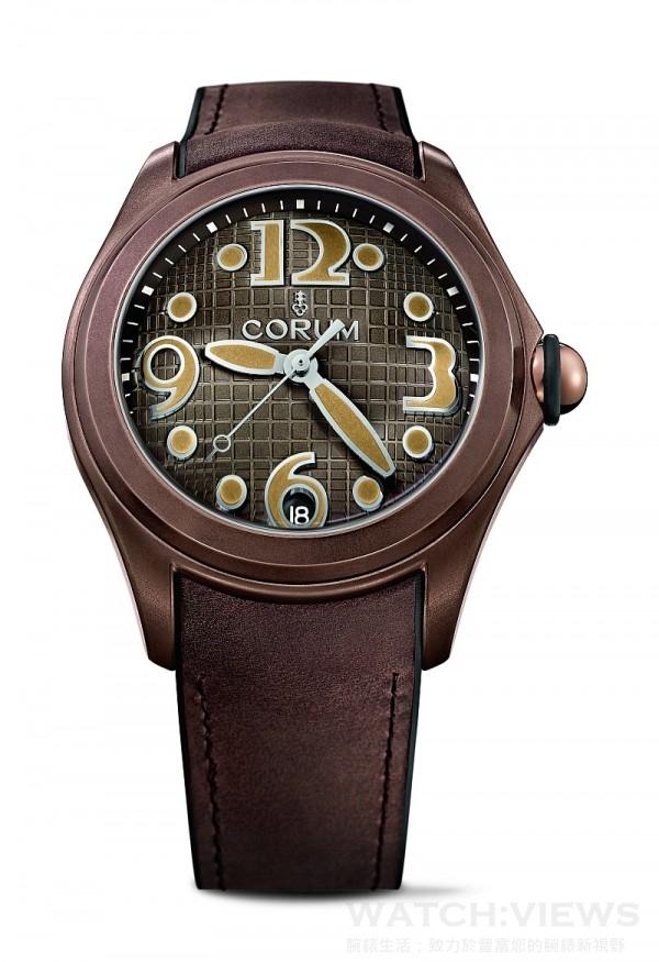 Bubble Heritage Vintage腕錶,古銅色PVD處理不鏽鋼錶殼,錶徑47毫米,時、分、秒、日期,CO 082自動上鍊機芯,防水100米,襯覆小牛皮橡膠錶帶,限量350只。