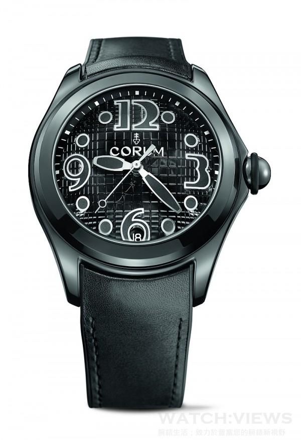 Bubble Heritage All Black腕錶,黑色PVD處理不鏽鋼錶殼,錶徑47毫米,時、分、秒、日期,CO 082自動上鍊機芯,防水100米,襯覆小牛皮橡膠錶帶,限量350只。
