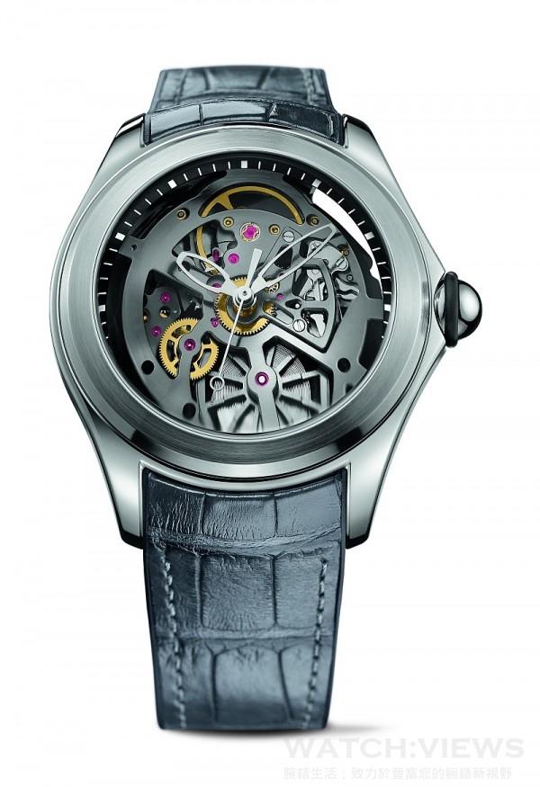 Bubble Heritage鏤空腕錶,不鏽鋼錶殼,錶徑47毫米,時、分、秒、日期,CO 082自動上鍊機芯,防水100米,襯覆鱷魚皮橡膠錶帶。