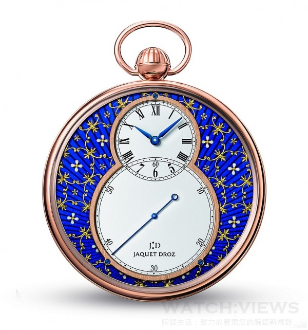 Jaquet Droz Petite Heure Minute Paillonnée,18K玫瑰金錶殼,錶徑50毫米,金箔雕花琺瑯面盤,時、分、大秒針,2615手上鍊機芯,動力儲存40小時,限量8只。