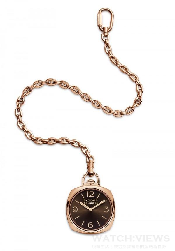 Panerai Pocket Watch 3 Days Oro Rosso PAM00447,18K紅金錶殼,錶徑50毫米,時、分指,示,背面動力儲存指示,P.3001/10手上鍊機芯,藍寶石水晶鏡面與可掀式後底蓋,防水50米,限量50只。