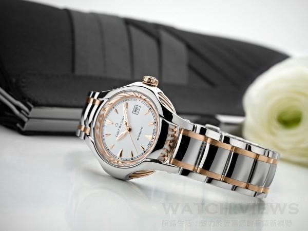 白蒂詩Diva腕錶,精鋼配18K玫瑰金錶殼,直徑34毫米,日期,小時,分鐘,秒,CFB 1963 自動上鏈機芯,動力儲存38小時,抗折射弧形藍寶石水晶鏡面,藍寶石水晶錶背,防水深度30米,精鋼配18K玫瑰金錶帶,精鋼摺疊扣,建議售價NTD258,000元。