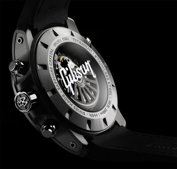 靈感源自Gibson的Nabucco腕錶採用訂製的RW5010機械計時碼錶自動上鏈機芯,具有46小時動力儲備。