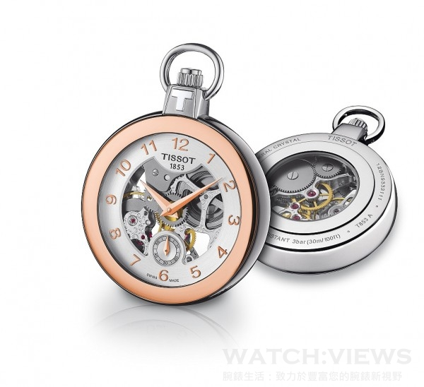 Tissot Pocket Mechanical Skeleton,18K黃金或玫瑰金PVD不鏽鋼材質錶殼,時、分、小秒針指示,ETA 6497手上鍊機芯,礦物水晶鏡面、底蓋,防水30米,建議售價NTD 33,900。