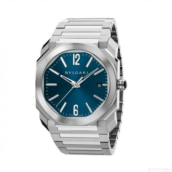 BVLGARI Octo 純鋼藍色錶盤腕錶,不鏽鋼錶殼,錶徑38mm,寶格麗自製BVL 191 Solotempo自動上鍊機械機芯,完全由寶格麗設計、開發並製造,振頻每小時28,800次(4 Hz),約42小時動力儲存,寶藍色拋光漆面錶盤,精鋼鍊帶,售價NT$ 230,400元。