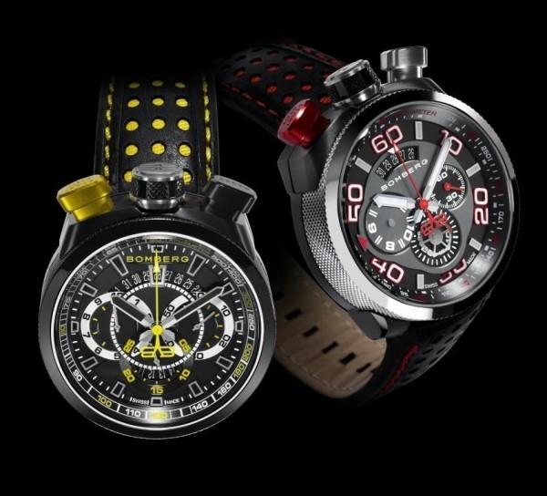 Bomberg Bolt-68雙時區計時碼錶,黑色PVD不鏽鋼錶殼,錶徑45毫米,時、分、秒、兩地時間,Ronda 3540D石英機芯,防水100米,黃或紅色鏤洞裝飾黑色皮錶帶,附黑色PVD不鏽鋼懷錶鍊帶與外殼。