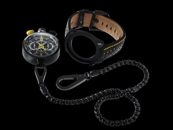 BOMBERG研發的獨家系統,使用一個扳機護環(扳機帽)的巧妙栓銷裝置:時計模組可從錶殼拆下,另裝在金屬掛鍊殼上,變身為一只懷錶。不同以往懷錶用的細鍊,從兩端連接用的鍊鈎顯而易見bomberg強調的是粗曠、氣勢雄偉、大尺寸的時計。