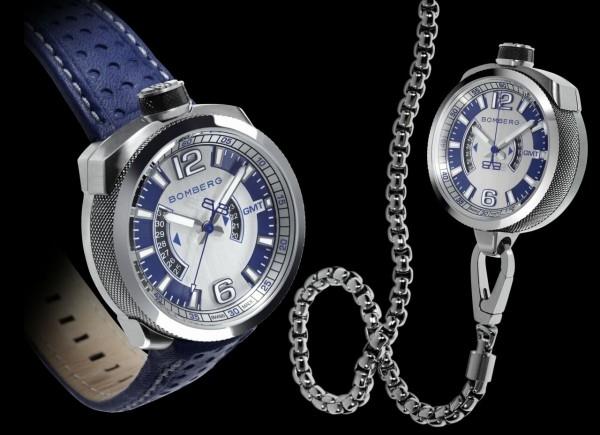 Bomberg Bolt-68雙時區計時碼錶,不鏽鋼錶殼,錶徑45毫米,時、分、秒、日期、兩地時間,Ronda 515.24D石英機芯,防水100米,藍色皮錶帶,不鏽鋼懷錶鍊帶與外殼。
