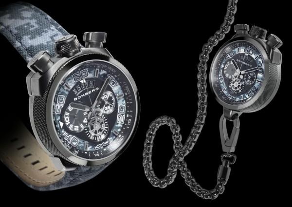 槍鋼灰色PVD不鏽鋼錶殼,錶徑45毫米,時、分、秒、兩地時間,Ronda 3540D石英機芯,防水100米,獨特黑色軍錶皮帶,附槍鋼灰色PVD不鏽鋼懷錶鍊帶與外殼。