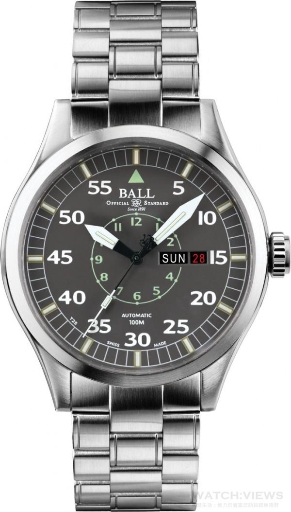 BALL客製化警察節紀念錶款,不鏽鋼錶殼,錶徑46毫米,時、分、秒、日期及星期顯示,15支自體發光微型氣燈,上鎖錶冠,通過5,000Gs撞擊測試、防磁性能4,800A/m,防水性能達100米,不銹鋼鍊帶。
