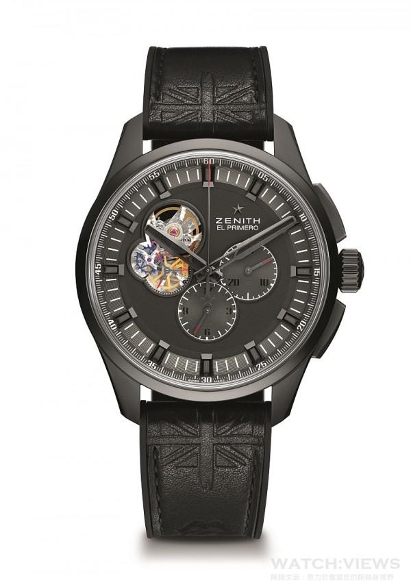 El Primero Chronomaster 1969 Tribute to The Rolling Stones向滾石樂隊致敬腕錶配備覆有DLC塗層的鈦金屬錶殼,鏤空錶耳則以本系列的另一經典錶款——El Primero Lightweight腕錶為靈感。