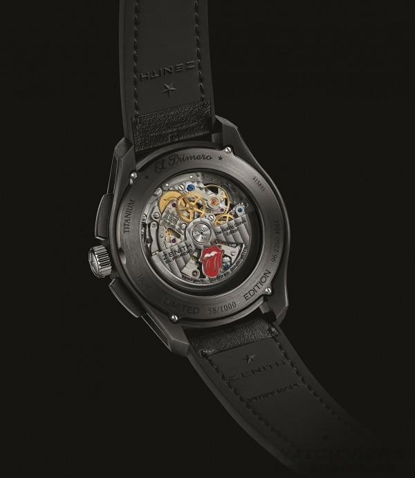 橡膠錶帶覆以Barenia小牛皮,搭配覆以PVD塗層的黑色三摺疊式錶扣。腕錶飾有樂隊及其所在國家的獨特色彩:藝匠採用熱印工藝,在皮革上印下了樂隊標誌(舌頭造型)以及英國國旗的圖案。擺陀鐫刻樂隊著名的紅色舌頭標誌和「The Rolling Stones Edition」字樣。