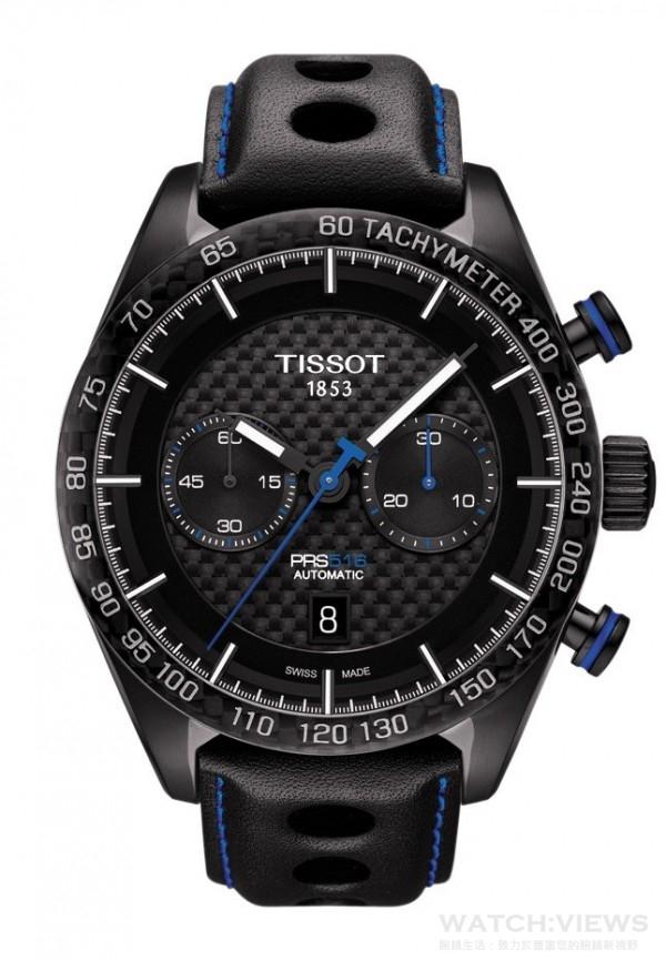 TISSOT PRS 516 自動計時腕錶,瑞士製ETA A05.H31自動機芯,精鋼錶殼,透明錶後蓋,黑色陶瓷錶圈配有測速刻度,黑色PVD塗層精鋼錶殼,碳纖維面盤,藍寶石水晶錶鏡,雙面均覆有防反光塗層,防水100米,錶徑45mm,真皮錶帶搭配折疊式錶扣和按鈕,建議售價NT$64,500。