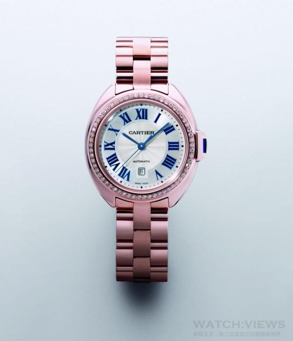 Clé de Cartier腕錶,18K 玫瑰金錶殼鑲鑽,錶徑31 毫米,時、分、秒指示、日期顯示,自動機芯,藍寶石水晶鏡面、底蓋,動力儲存42 小時,搭配18K 玫瑰金鍊帶,建議售價NTD1,120,000。