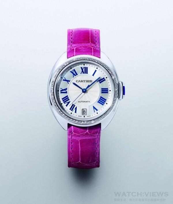 Clé de Cartier,18K 白金錶殼鑲鑽,錶徑35 毫米,時、分、秒指示、半瞬跳式日期顯示,1847MC 自動機芯,藍寶石水晶鏡面、底蓋,動力儲存42小時,搭配鱷魚皮錶帶,建議售價NTD1,040,000。