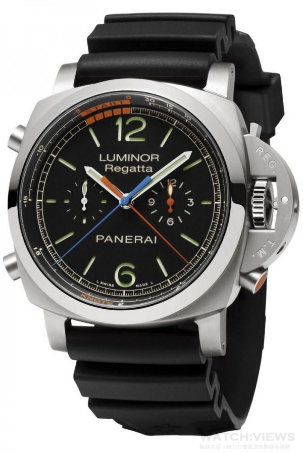 Luminor 1950 Regatta 3 Days Chrono Flyback Titanio3日動力儲存飛返計時鈦金屬腕錶(PAM00526),磨砂鈦金屬錶殼,直徑47毫米,10點鐘方位和8點鐘方位設鐫刻磨砂鈦金屬計時功能按鈕。 4點鐘方位設磨砂按鈕和橙色錶面帆船賽倒計時功能標示,時、分、小秒針、飛返計時、帆船賽開始時間倒計時、以節為單位的刻度標用於計算航速、秒針歸零。沛納海P.9100/R自動上鏈機械機芯,完全由沛納海研製, 3天動力儲存,刻有PANERAI標誌的橡膠錶帶,配梯形磨砂鈦金屬錶扣。 附一條備用錶帶、一個更換錶帶工具和一支精鋼螺絲起子,型號 PAM00526.,建議售價新台幣562,000。