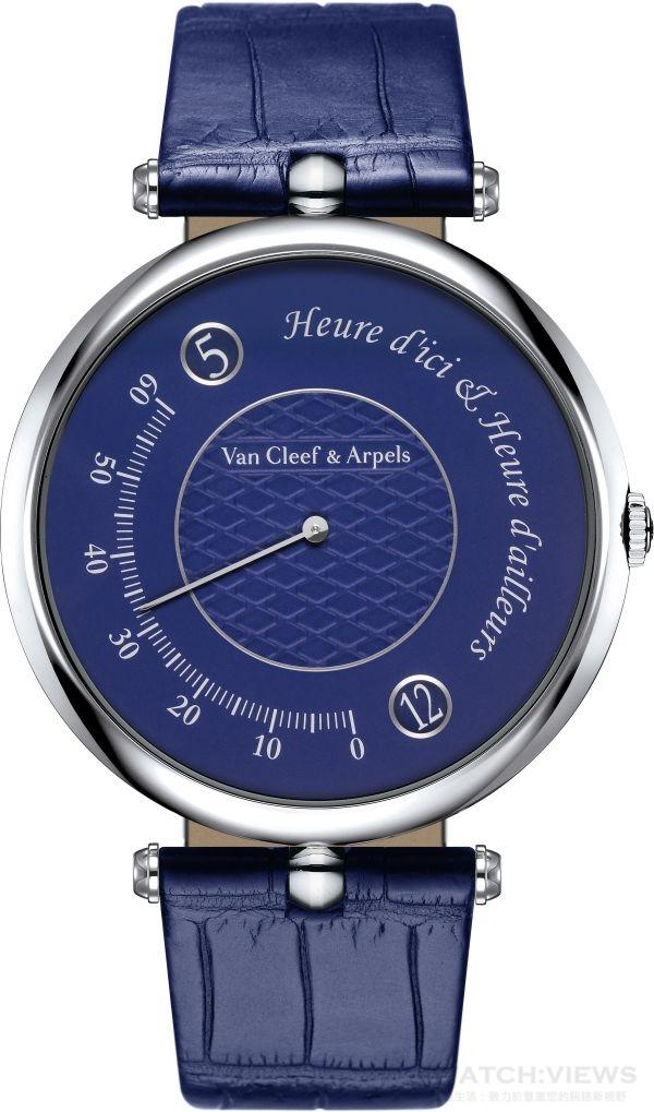 白K金錶殼,直徑42毫米,自動上鍊機械機芯,雙跳時、逆跳分針功能, 動力儲存48小時,防水30米,藍色鱷魚皮錶帶。