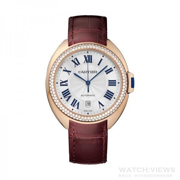 卡地亞Cle de Cartier系列腕錶,40毫米18K玫瑰金錶殼,錶圈鑲鑽,紅色鱷魚皮錶帶。