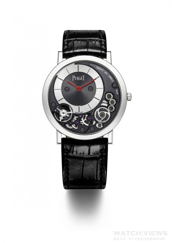 Piaget Altiplano 900P 38mm Only Watch 2015,鉑金錶殼,錶徑38毫米,時分顯示,紅色時分針,900P手上鏈機芯,鱷魚皮錶帶, 獨一無二款式。
