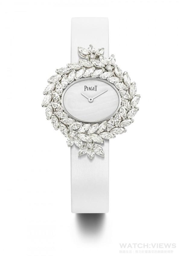 18K 白金腕錶,錶殼鑲嵌52顆馬眼形切割美鑽(約重 7.88 克拉)及 4 顆圓形美鑽(約重 0.18 克拉),白色珍珠貝母錶盤,搭載伯爵製 56P石英機芯,白色絹質錶帶,折疊式錶釦鑲飾36顆圓形美鑽(約重 0.16 克拉),G0A40252,台幣參考價格NTD 5,950,000。