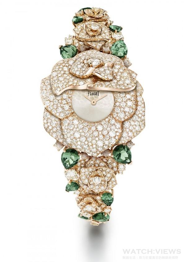18K 玫瑰金腕錶,錶殼鑲嵌668 顆圓形美鑽(約重8.68克拉),銀色錶盤,搭載伯爵製 56P石英機芯,錶鏈鑲嵌12 顆梨形切割綠色碧璽(約重9.43克拉)及488 顆圓形美鑽(約重6.92克拉),G0A40282,台幣參考價格NTD 14,500,000。