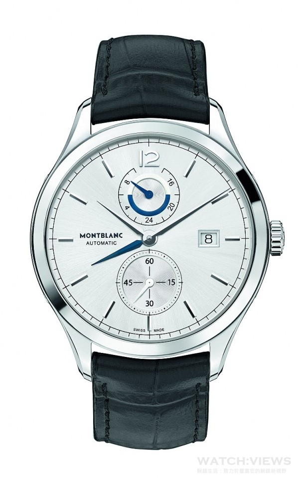 Heritage hronométrie Dual Time傳承時測系列兩地時間腕錶,不鏽鋼錶殼,錶徑41 毫米,時、分、小秒指示、日期顯示、兩地時間附日夜顯示,MB 29.19 自動上鍊機芯,儲能42 小時,太陽放射紋飾錶盤,藍寶石水晶鏡面、後底蓋,鱷魚皮錶帶,防水30 米,底蓋鐫刻聖加布里埃爾號船隊素描圖案,通過萬寶龍500 小時測試,建議售價NTD152,900。