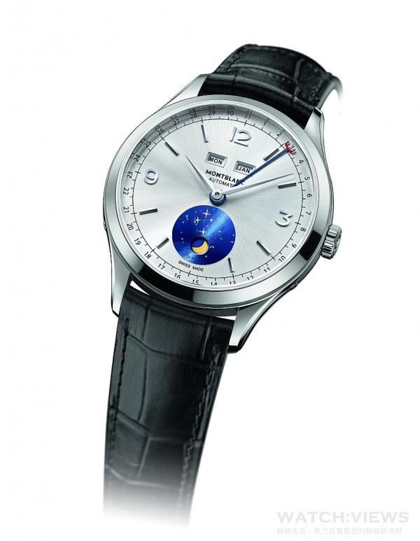 Heritage Chronométrie傳承時測系列全曆腕錶達伽瑪特別款,不鏽鋼錶殼,錶徑40 毫米,時、分指示、日期指示、月份、星期顯示、月相顯示,MB 29.16 自動上鍊機芯,儲能42 小時,太陽放射紋飾錶盤,藍寶石水晶鏡面、後底蓋,鱷魚皮錶帶,防水30 米,底蓋鐫刻聖加布里埃爾號船隊素描圖案,通過萬寶龍500 小時測試,建議售價NTD166,700。