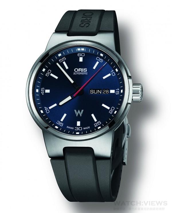 Oris Willimas 日曆星期表,型號:735 7716 4154RS,錶徑42毫米,自動上鏈機芯Oris Cal. 735,日曆星期視窗位於3點鐘方向,多片式不銹鋼錶殼,不銹鋼表冠,防水 100M,內外層反光塗層平面藍寶石水晶玻璃,旋入式底蓋搭配透明水晶玻璃,黑色或深藍色錶盤,搭配Super-LumiNova.夜光指標,鎳時針和分針白色Super-LumiNova塗層。藍色(或黃色)秒針,黑色橡膠錶帶與不銹鋼折疊表扣。也可搭不銹鋼錶帶,建議售價CHF 1,250.00 / 1,450.00。