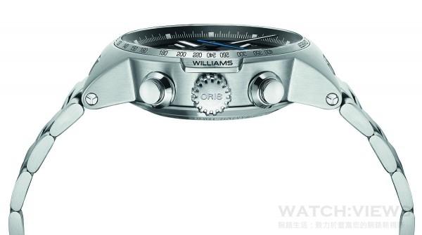 Oris Williams系列的錶冠,設計靈感來自F1賽車的變速箱車輪。