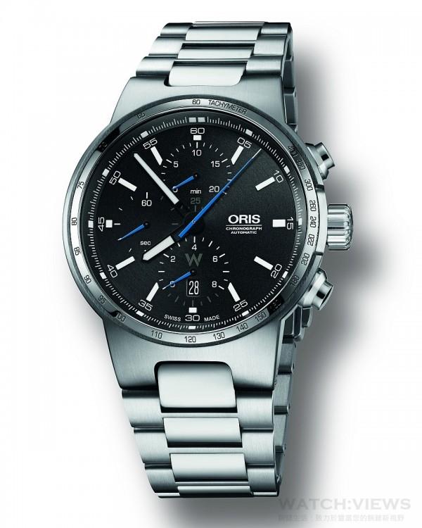 Oris Willimas 計時碼表,型號:774 7717 4154 RS,錶徑44.毫米,自動上鏈機芯Oris Cal. 774,計時功能,日期視窗位於6點鐘方向,多片式不銹鋼錶殼,不銹鋼表冠及按把,防水100M,內外層反光塗層平面藍寶石水晶玻璃,旋入式底蓋搭配透明水晶玻璃,黑色錶盤,搭配Super-LumiNova塗層指標。鎳時針和分針以白色Super-LumiNova葉光塗層,藍色秒針及計時碼表器,黑色橡膠錶帶與不銹鋼折疊表扣,也可搭不銹鋼錶帶,建議售價CHF 2,800.00 / 3,000.00。