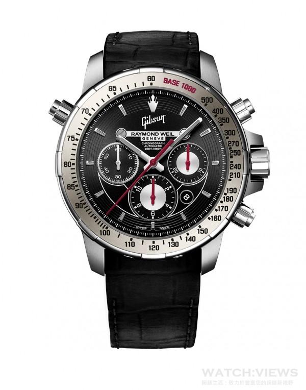 Nabucco Gibson音樂特別版腕錶,不鏽鋼與鈦合金錶殼,錶徑46毫米,灰色陶瓷錶圈,時、分、小秒針、日期、計時碼錶附測速儀,RW5010自動上鍊機芯,動力儲能46小時,防水200米,黑色橡膠鱷魚壓紋錶帶。