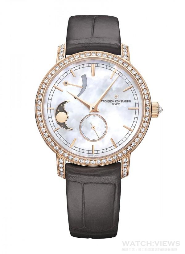 Traditionnelle月相盈虧動力儲存小型號腕錶,18K 5N粉紅金錶殼,錶徑36毫米,鑲鑽錶圈(80顆圓形切割鑽石),鑲鑽錶冠(1顆圓形切割鑽石),白色珍珠母貝面盤,時、分、小秒針、動力儲存顯示、月相盈虧顯示,1410自製手上鍊機芯,透明藍寶石水晶錶底蓋,防水30米,灰色密西西比鱷魚皮錶帶。