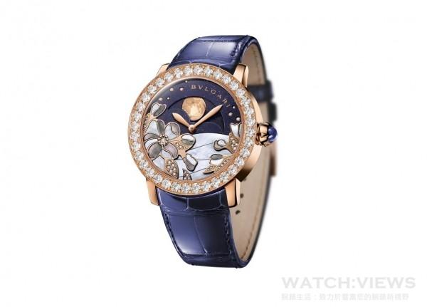 Giardini di Bulgari義大利花園系列紫羅蘭《天鵝之舞》陀飛輪腕錶,約NT$3,100,000。