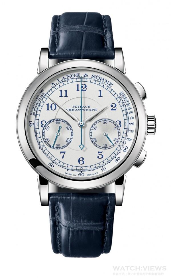 1815 Chronograph,18K白色黃金錶殼,錶徑39.5毫米,時、分、小秒針、飛返計時碼錶、脈搏計,L951.5手上鍊機芯,振頻18,000次/小時,動力儲能60小時,僅於全球15家朗格專賣店販售。