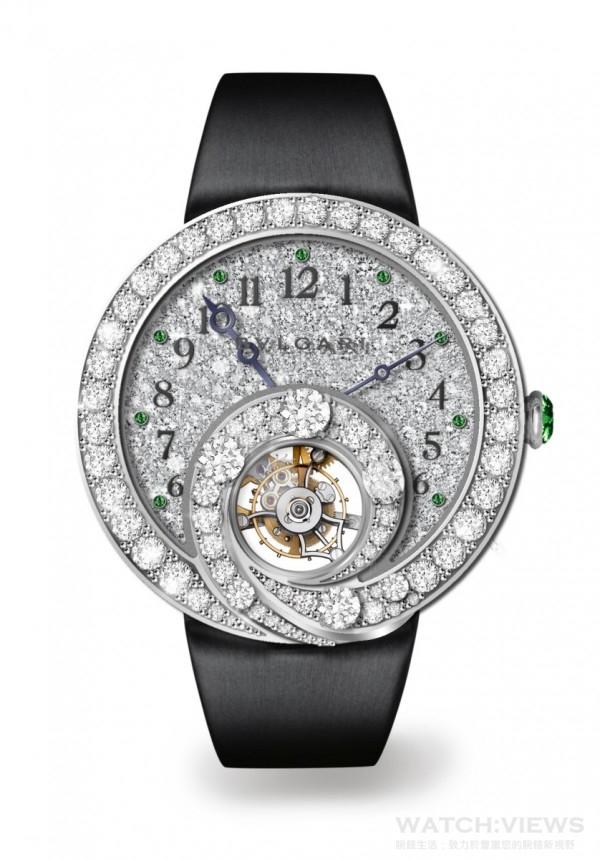 BVLGARI Berries 甜莓果時針逆跳陀飛輪祖母綠全鑽腕錶,約NT$8,050,000。