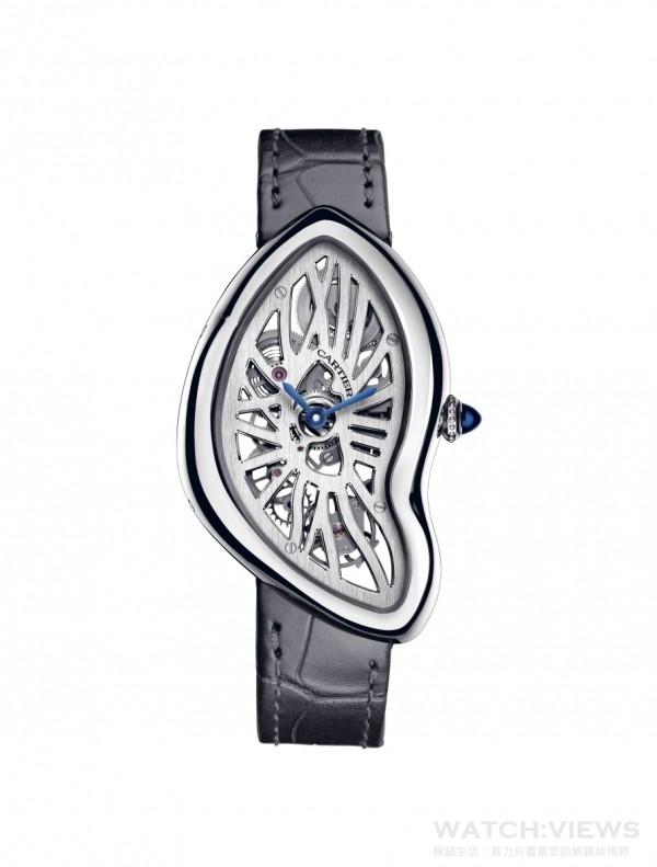 Crash鏤空腕錶,950 鉑金錶殼,錶徑28.15x45.32毫米,時、分指示,9618MC 手上鍊機芯,羅馬數字型鏤空錶橋,儲力儲能3 日,藍寶石水晶錶背,防水30 米,鱷魚皮錶帶。