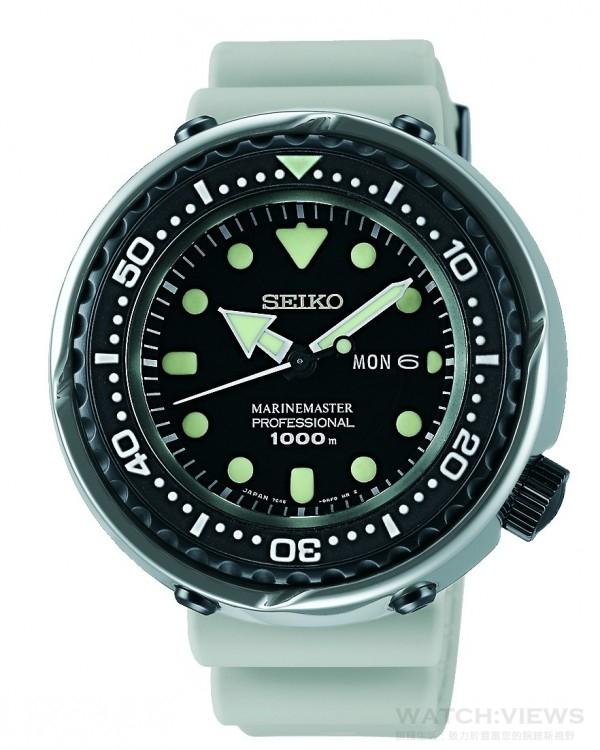 SEIKO 潛水錶50周年限量款,型號SBBN029J,建議售價NT$ 89,000,鈦金屬材質錶殼,錶徑49.4mm,藍寶石水晶鏡面,1000m潛水錶,一體成型錶殼、專利L型防水墊圈、單向旋轉錶圈、可鎖式錶冠,矽膠錶帶,7C46石英機芯,全球限量700只,台灣限量30只。