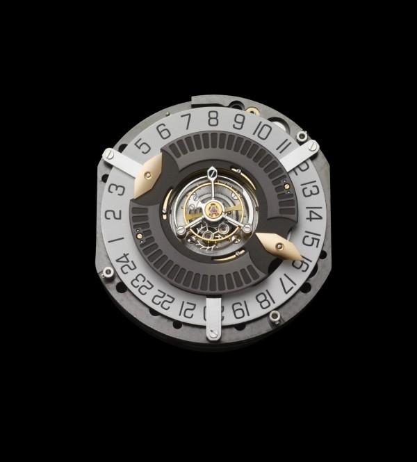 BVLGARI Calibre BVL 266手動上鍊機械機芯;分鐘由專利Papillon ®蝴蝶型分鐘指針機制顯示,跳時功能由安裝在陶瓷滾珠軸承的圓盤顯示;振頻每小時 21,600次(3赫茲);30個寶石軸承;60小時動力儲存;手工裝飾圓紋、金質雕紋、陽光射線景泰藍圖案和直紋;BVLGARI專利Papillon®蝴蝶型分鐘指針、跳時功能,中置陀飛輪。