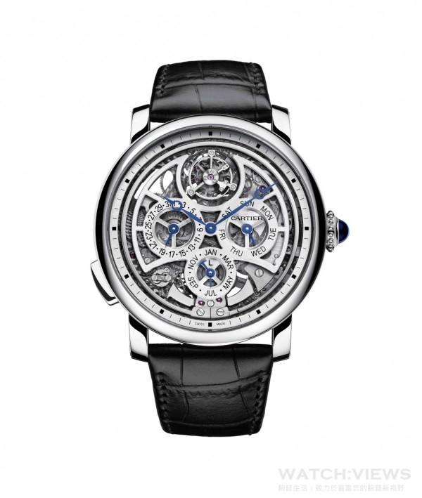 Rotonde de Cartier大型複雜功能腕錶,950 鉑金錶殼,錶徑45 毫米,時、分指示、萬年曆( 日期、星期、月份)、陀飛輪、三問報時,9406MC自動上鍊機芯,儲能50 小時,藍寶石水晶鏡面、後底蓋,鱷魚皮錶帶,防水30米,日內瓦印記。