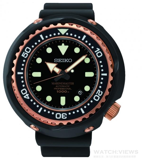 SEIKO PROSPEX 2015年新款潛水錶,型號SBDX014G,建議售價NT$ 130,000,鈦金屬材質錶殼,錶徑52.4mm,藍寶石水晶鏡面,1000m潛水錶,一體成型錶殼、專利L型防水墊圈、單向旋轉錶圈、可鎖式錶冠,矽膠錶帶,8L35自動上鍊機械機芯,28800轉,動力儲存50小時,寶石數26石,靜置日差+15~-10秒,日期顯示。