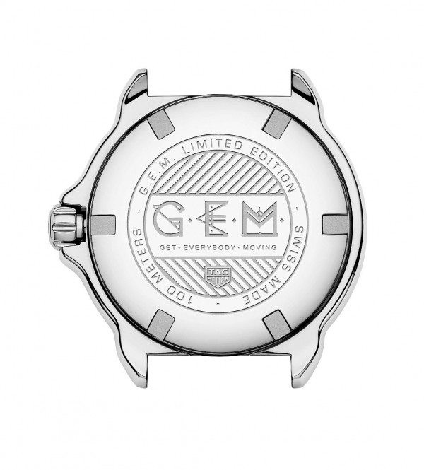 Formula One -G.E.M.特別款腕錶的精鋼拋光旋入式底蓋鐫刻有「G.E.M.」及「Get Everybody Moving」字樣。