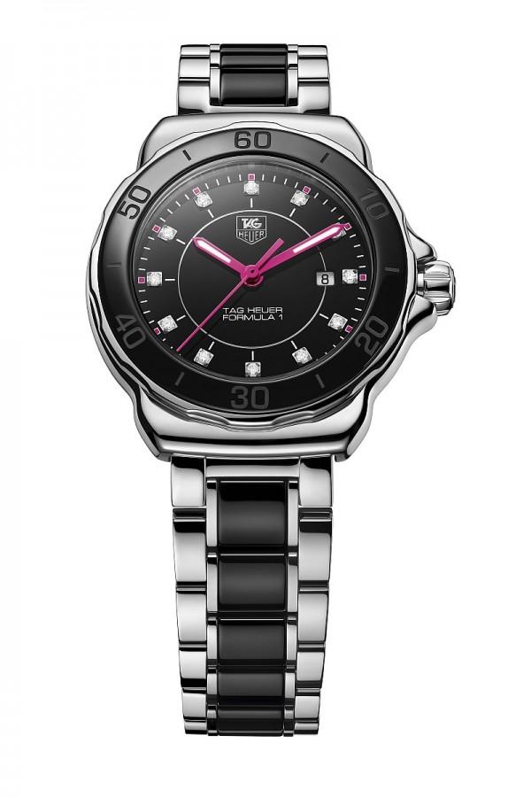 Formula One -G.E.M.特別款腕錶,精鋼錶殼,直徑32mm,精鋼拋光和黑色陶瓷固定錶圈,刻有指示分鐘的黑色數字,精鋼拋光旋入式錶冠,藍寶石水晶錶鏡,精鋼拋光護工,防水200m,帶日期顯示的石英機芯,黑色錶盤,日期顯示窗位於3點位置處,12顆維塞爾頓鑽石時標,總重0.09克拉,粉色刻面時針和分針,螢光標記,5排交替式精鋼和黑色陶瓷,精鋼拋光蝴蝶式折疊錶扣,帶安全搭扣,價格NTD 61,050。