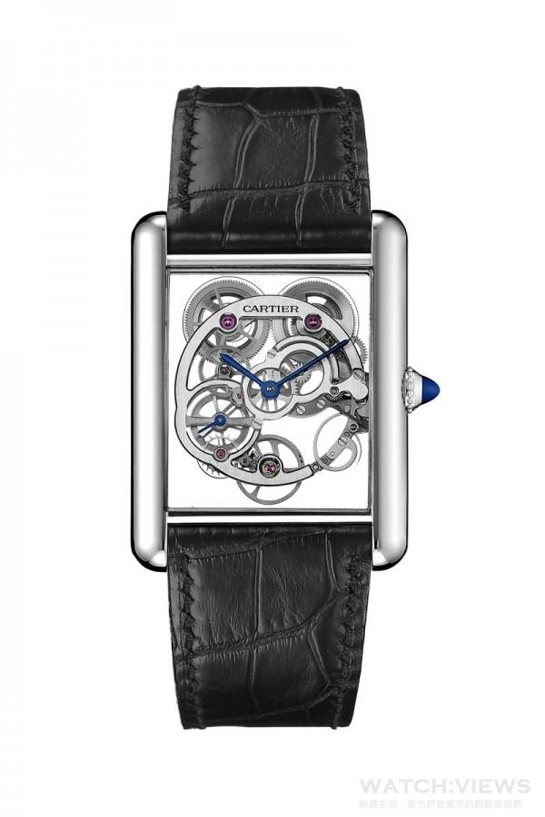 Tank Louis Cartier 藍寶石水晶鏤空腕錶,18K 白金錶殼,錶徑30×39.2毫米,時、分、小秒針,9622MC 手上鍊機芯,藍寶石水晶鏤空設計,動力儲能3 日,藍寶石水晶鏡面及錶背,鱷魚皮錶帶,防水30 米。
