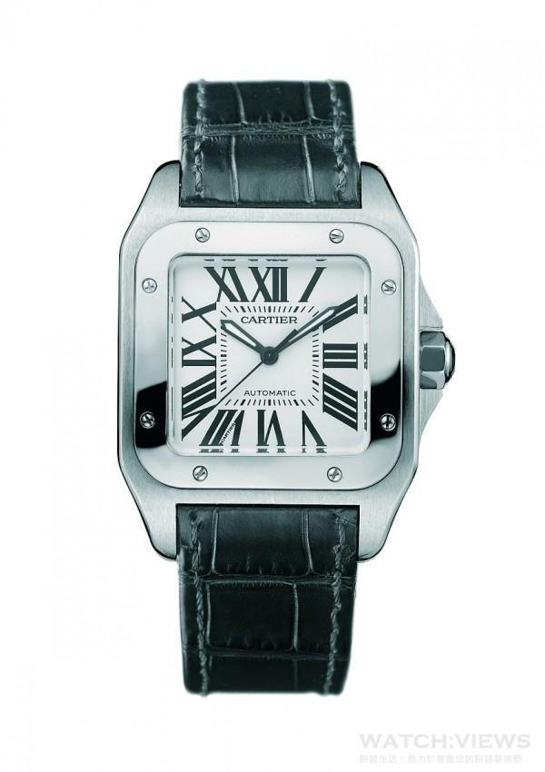 Santos 100系列腕錶,精鋼錶殼搭載卡地亞自動上鍊機芯,參考售價約NTD201,000元。