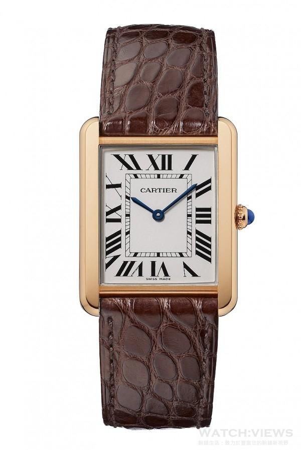 Tank Solo玫瑰金精鋼腕錶,搭載卡地亞石英機芯,棕色鱷魚皮錶帶,參考售價約NTD173,000元。